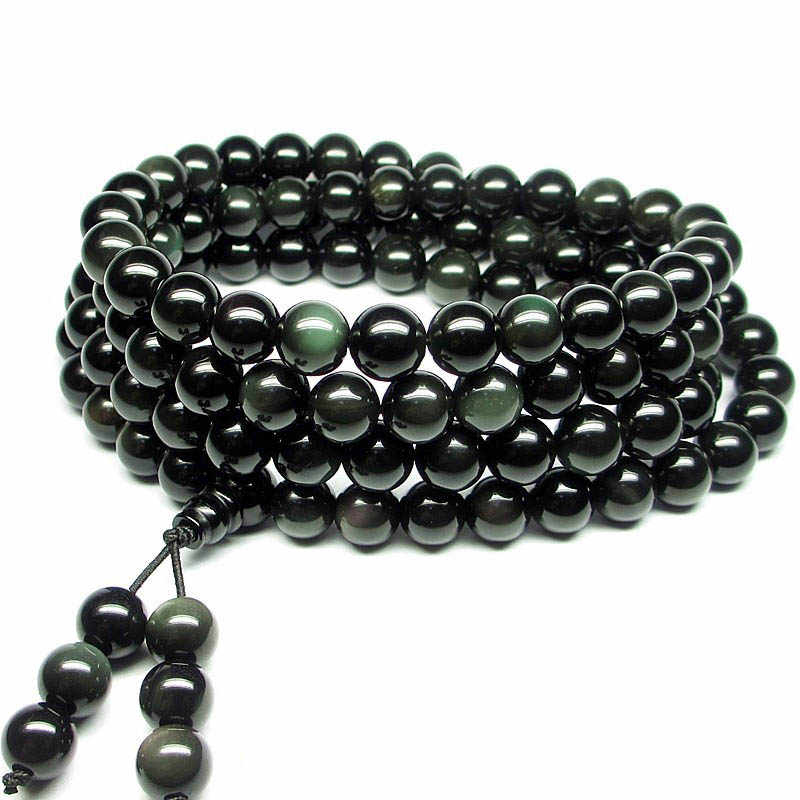 Natural Stone Black Rainbow Obsidian Bracelet Man Women 108 Beads Stretch Bracelets 6mm Fashion Buddha Rosary Buddhist For Lover
