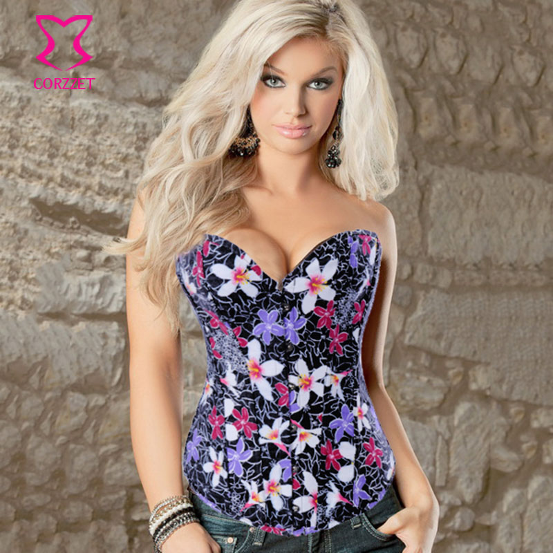 Corzzet Floral Print Denim   Corset   Skirt Waist slimming Steel Boned Overbust   Corsets   And   Bustiers   Top Corpetes   Corset   Set