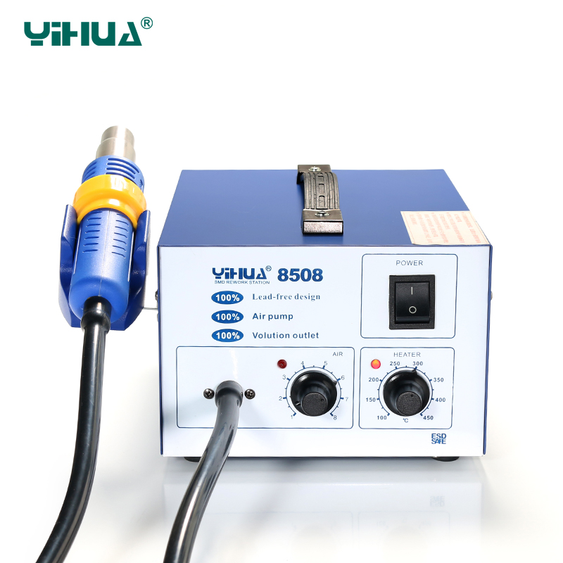 Free Shipping ESD Hot Air Yihua 8508 Temperature Controlled Air Soldering Station With Silicone Line