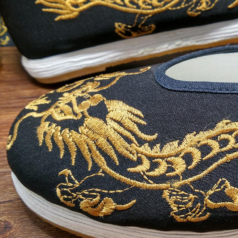 Fu National Beijing Dragon Chun Noir Shaolin Brodé Wing Style Tai or Chaussures Kung D'or Casual Chinois Empereur Chi Des L'histoire 8tqdgxwqF
