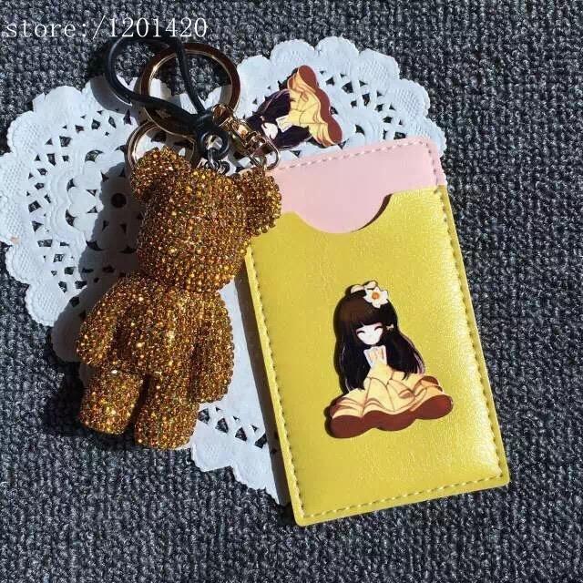 Oro lindo oso cristal llaveros llave del coche del anillo único para del encanto del encanto del bolso del monedero de la cartera Charm Girl regalo