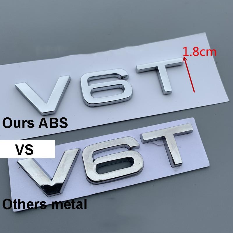 Noir Brillant V6T Embl/ème De Badge Coffre Arri/ère De Chiffres Compatible pour Les Mod/èles V6T Engine SQ5 S5