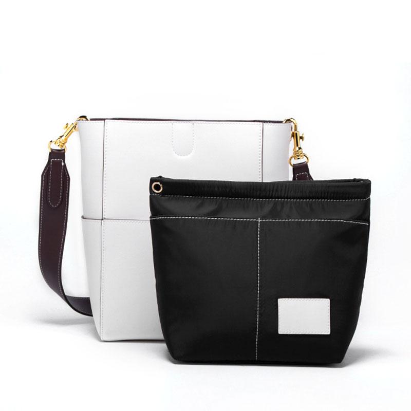 Nieuwe Vrouwen emmer tas Echt Leer Koeienhuid Draad designer Composite messenger Bag Crossbody Winkelen handtas met 2 bandjes