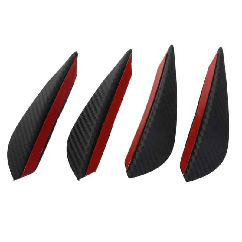 4 unids/set negro fibra de carbono ajuste parachoques delantero labio divisor Fin cuchillo de aire Kit de carrocería de coche Spoiler Canards Valencia barbilla accesorio