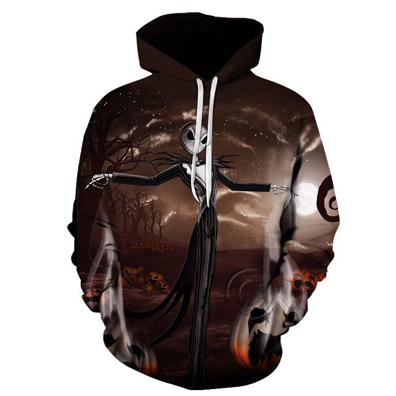 3D Skull 2018 Women/Men Sweatshirt Hoodies Hip Pop Loose Warm Digital Couple Hooded Hoodies for Unisex Outwear Autumn Winter New