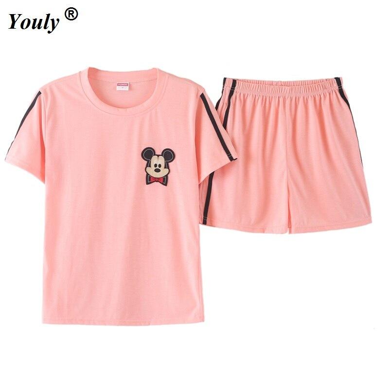 Shorts Pajamas sets Women Cute Dog Print Crop Top + Shorts 2 Pieces Set  Cotton Pajamas Loose Elastic Waist Lounge pyjamas suits 4e67e3308
