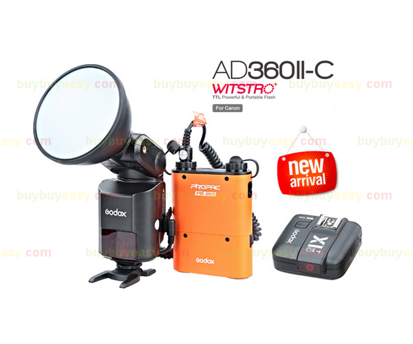 Newest Godox AD-360 MARK II AD360II-N TTL For NIKON Portable Flash Light & PB960 Lithium Power Pack Orange & X1N Trigger