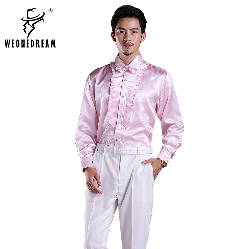 Weonedream 2018 New Men Solid Satin Shirts For Stage Man
