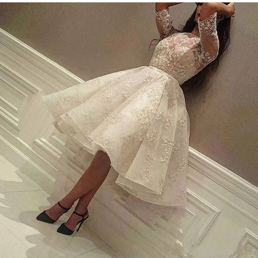Puffy Evening Dress Ivory O Neck Appliqued Beaded Half Sleeve robe de bal Pleats Evening Party Dresses Girls Arabian Vestidos
