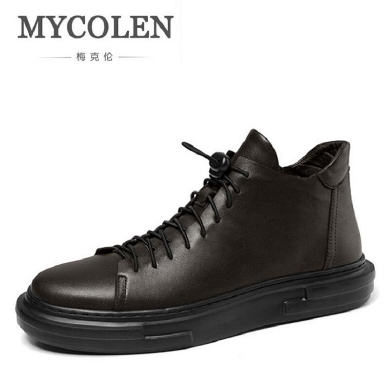 MYCOLEN Brand Fashion Winter Autumn Ankle Boot Casual Leather Men Shoes Snow Working Shoes Stylish Men Snow Boots laarzen dames northmarch brand ankle snow boots men shoes genuine leather winter fashion cow motocycle casual boot male high top flat botas