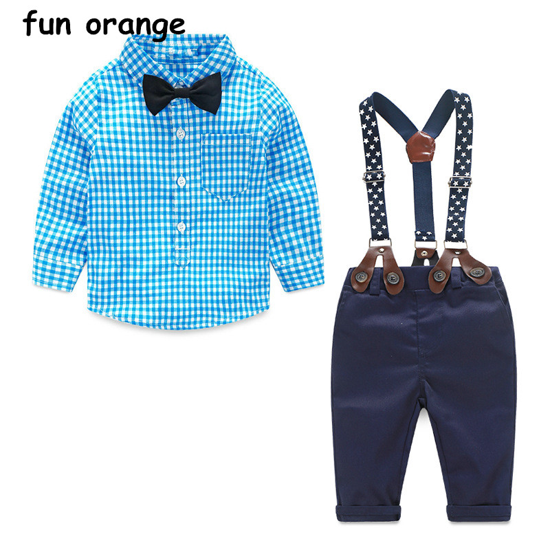 Fun Orange Baby Boy Clothes Long Sleeve Newborn Baby Sets Infant Clothing Gentleman Suit Plaid Shirt+Bow Tie+Suspender Trousers
