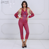 Adyce New Runway Fringe Jumpsuits For Women 2019 Celebrity Party Jumpsuit Long Sleeve Red Blue Striped Tassel Jumpsuit Bodysuit