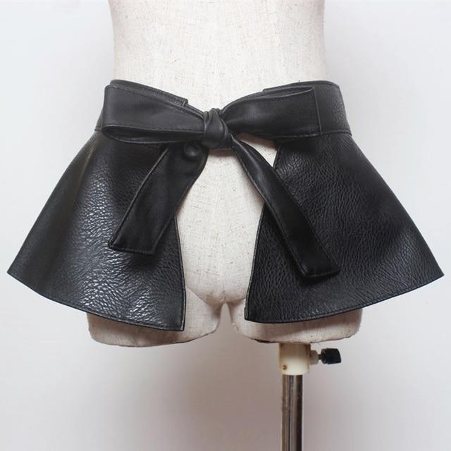 Женская high street fashion стиль бантом галстук регулируемая искусственной кожи ruffled широкий пояс девушку дамы баски черный PU платье ремни
