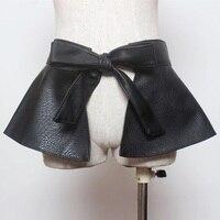 women's high street fashion style bowknot tie adjustable faux leather ruffled wide belt woman ladies peplum black PU dress belts