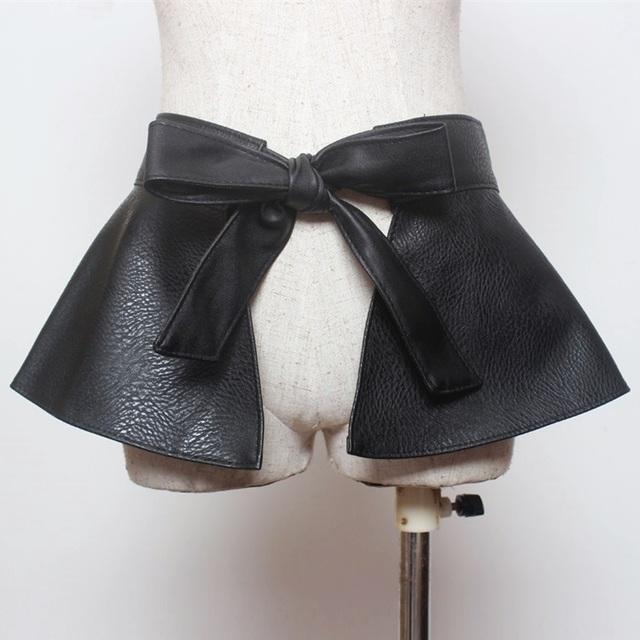 Mujeres high street style fashion tie bowknot cinturón ancho de cuero de imitación ajustable con volantes señoras de la mujer peplum vestido de negro de LA PU cinturones