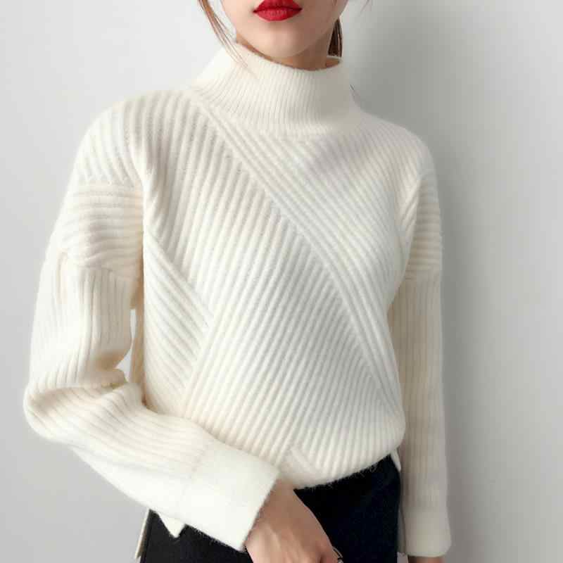 Elegant Women Turtleneck Sweater 2019 Autumn Winter Casual Korean Solid Color Thread Pullover Knitting Sweaters For Womens