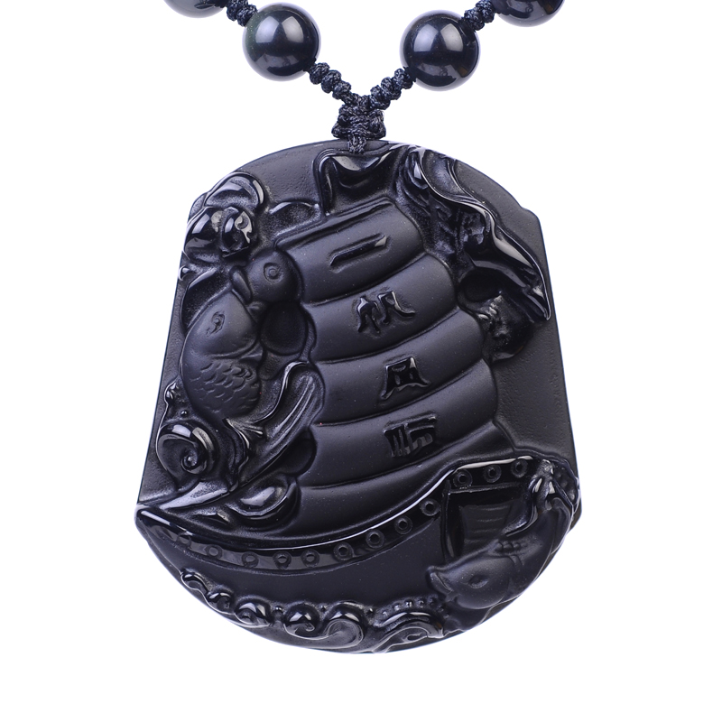 Christmas gift 100% mascot obsidian pendant necklace pendant turned the corner to ensure genuine smooth sailing