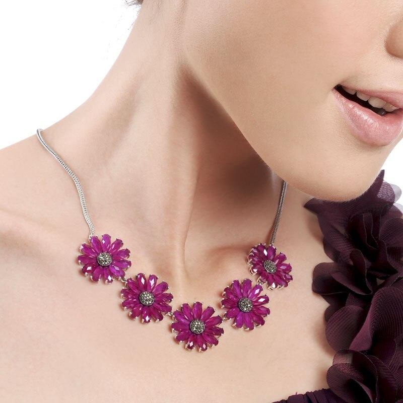 925 argent exagéré vintage pierre naturelle dames collier fleur design personnalité dames accessoires