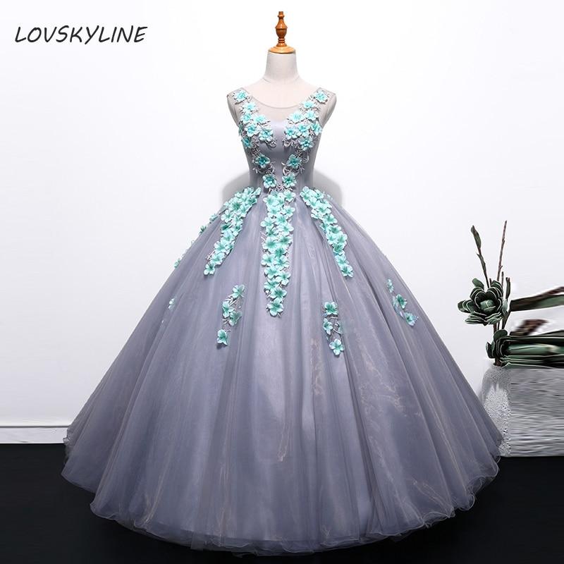Image réelle robe Quinceanera robe de bal grise robe de bal sans manches Tulle avec appliques fleurs Bandage