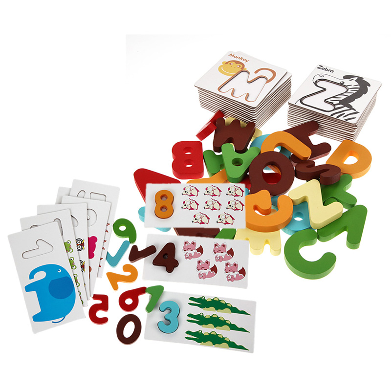 Wooden Letters Numbers Learning Card Kid Early Educational Toys Cartoon Shape Matching Puzzle Toy K5BO
