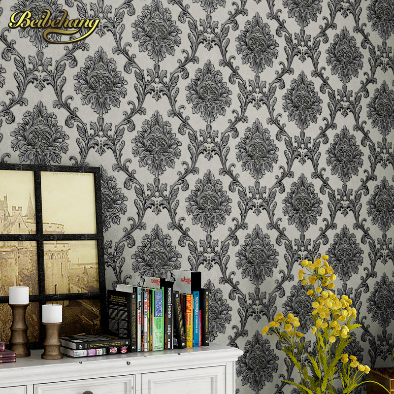 beibehang Papel de parede 3D flooring murals black damask wallpaper roll stereo washable-wallpaper for walls 3 d papel contact beibehang papel de parede custom home furnishing decorative painting colorful flowers light highlights 3d flooring wallpaper