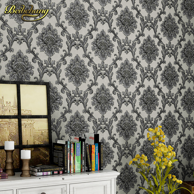 Beibehang Papel De Parede 3D Flooring Murals Black Damask Wallpaper Roll Stereo Washable For