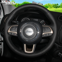 BANNIS Black Genuine Leather Car Steering Wheel Cover for Jeep Compass 2017 Renegade 2016 2017