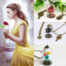 Movie Beauty and The Beast Necklace Cosplay Props Glass Bottle Dried Flower Pendant Women Girls Halloween Gifts(China)