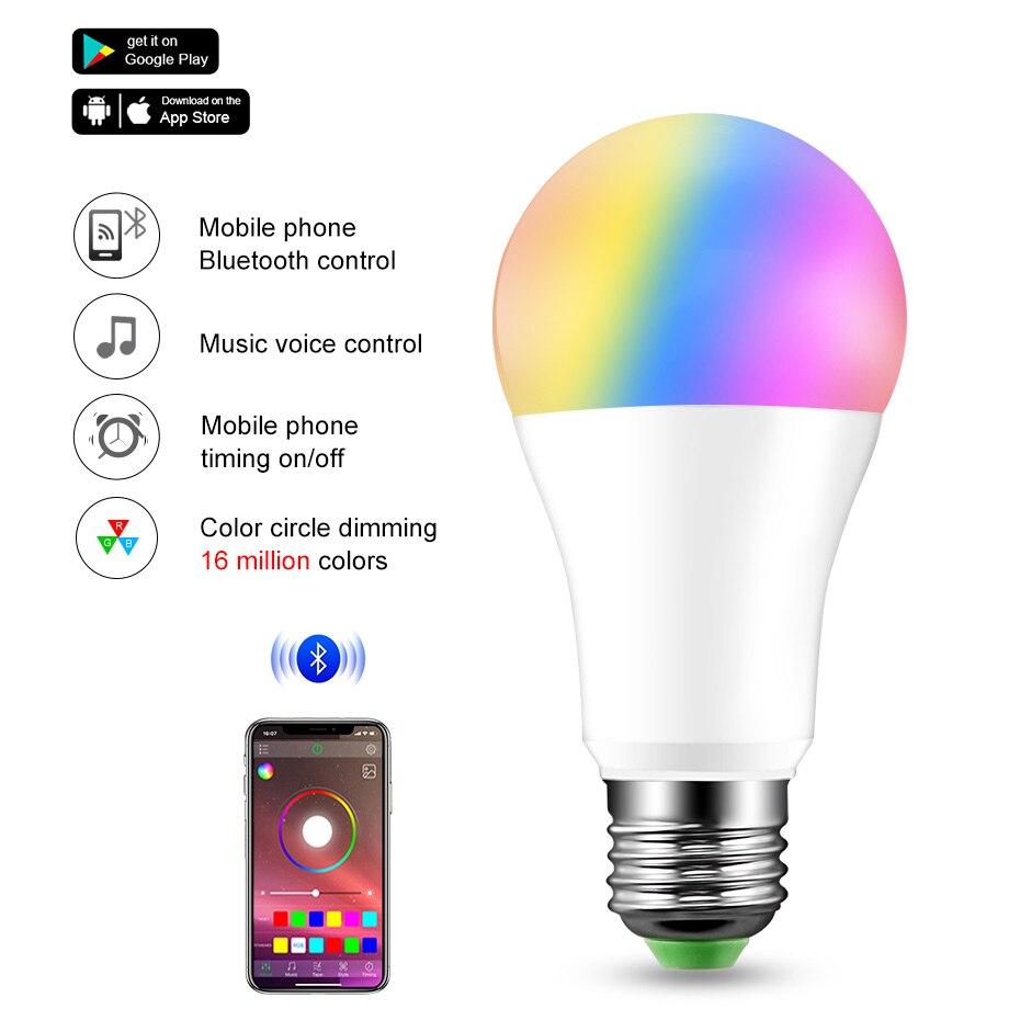 20 режимов затемнения E27 RGB светодиодная умная Лампа 15 Вт Bluetooth волшебная лампа RGBW RGBWW умная лампа B22 управление музыкой применимо к IOS/Android