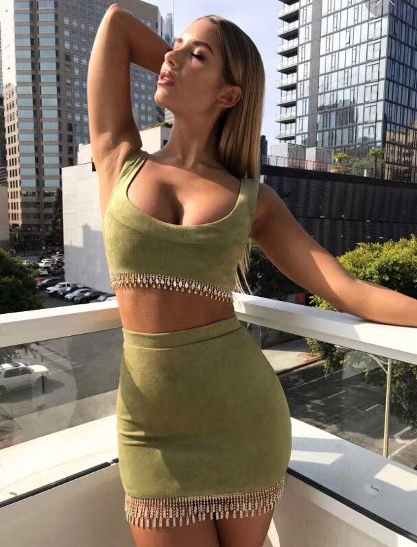 Courroie cou Femmes Partie New Moulante Bandage 2018 De Robe Élégante Gaine Vert Deux Célébrité Armée Soirée pièce D'o Robes Aaqx0Xtaw