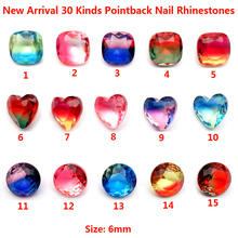 Free Shipping 2018 New Arrival K9 50pcs/bag 30 Kinds Glass Pointback Rhinestone Crystal Nail Art Stone strass para artesanato
