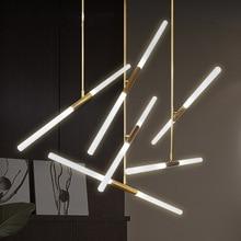 LED moderne lustre éclairage nordique fer et verre suspendus lumières pour salon chambre Restaurant or/noir suspension