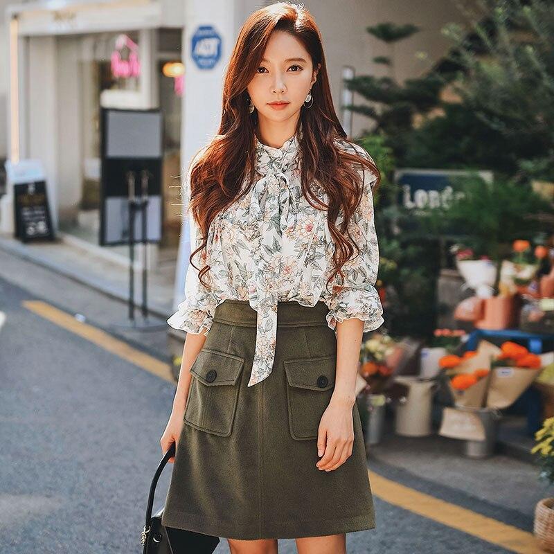 Dabuwawa Autumn elegant Print Ruffle Women Shirt New Casual 2018 Butterfly Sleeve Blouse Sweet Lace-up Shirt Top 3