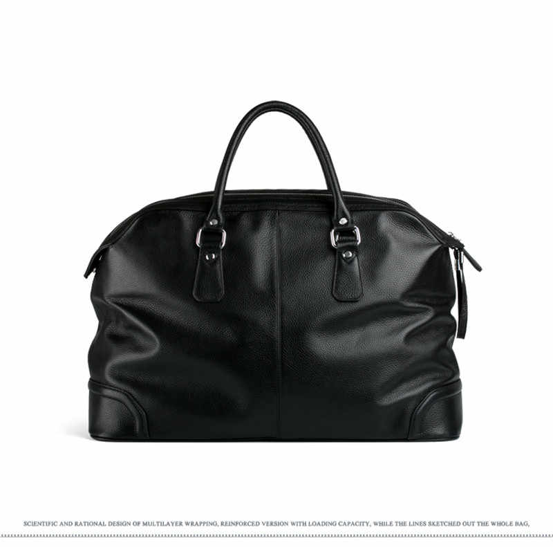 2018 Fashion Men Leather Travel bag Genuine Leather Luggage Bag Men Duffle Bag Overnight Weekend Shoulder Bag Tote handbag Black