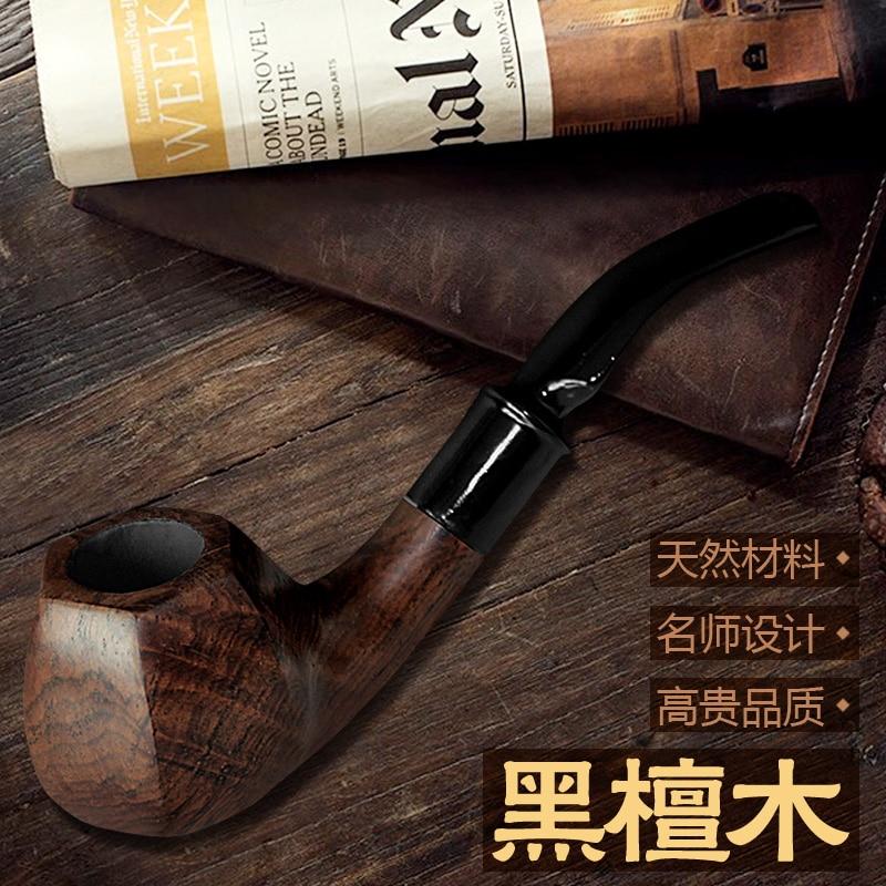 Pipe à fumer en bois d'ébène faite à la main en bois massif