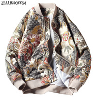 Japan Style Mens Floral & Crane Embroidery Bomber Jacket Stand Collar Men Streetwear College Baseball Jackets Autumn Coat