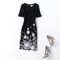 High Quality Women Fashion Elegant Floral Heavy Embroidery Dress Short Sleeve Brand Plus Size Dresses New