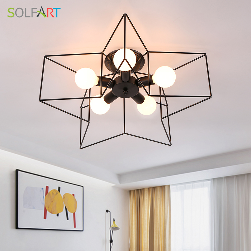 цены Lamp Ceiling Light Fixtures Ceiling Lights Iron Industrial Creative Star Loft Lamps Chandelier Ceiling for Room Dining