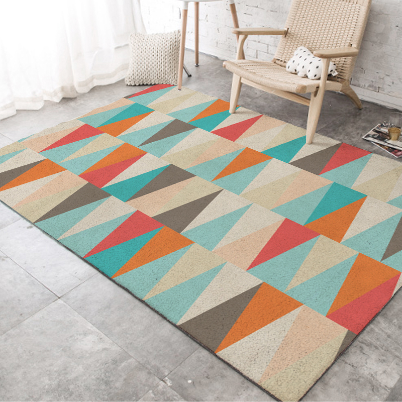 Fashion Scandinavian Geometric Turquoise Blue Orange Triangles Door Mat Pad Parlor Living Room Home Decorative Carpet Area Rug