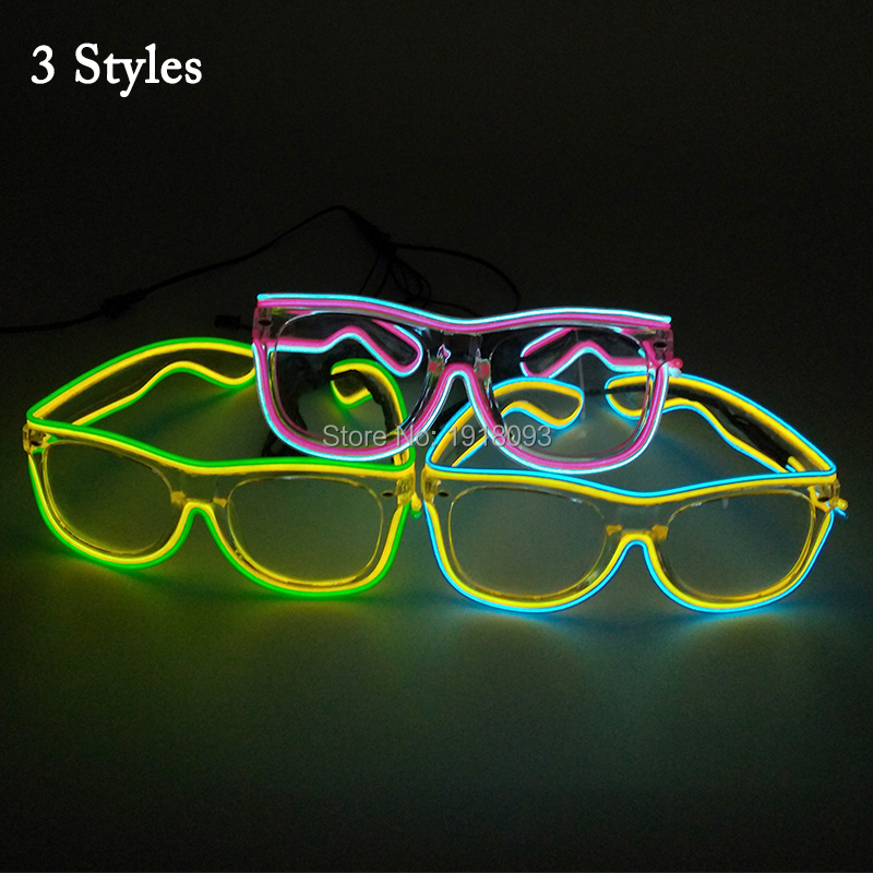 Glasses Wholesale 20pieces Double Color EL Wire Glowing Glasses Birthday Party Decoration Holiday Lighting Glasses