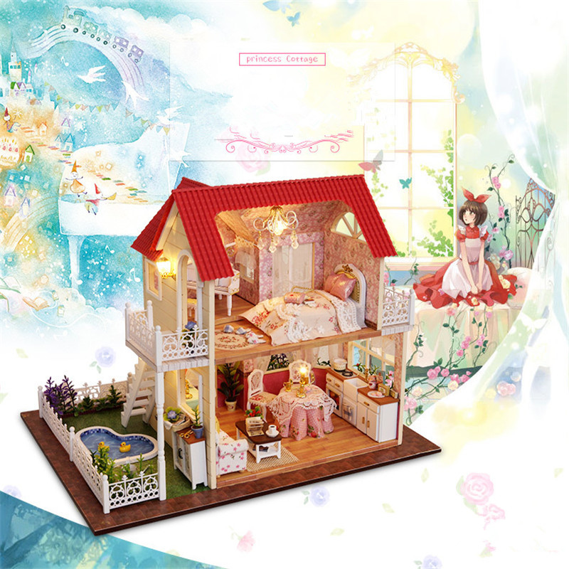 Cute Families House DIY Original Princess Cottage Assembled Model Dolls House Furniture Toys for Girls Juguetes Brinquedos in Doll Houses from Toys Hobbies