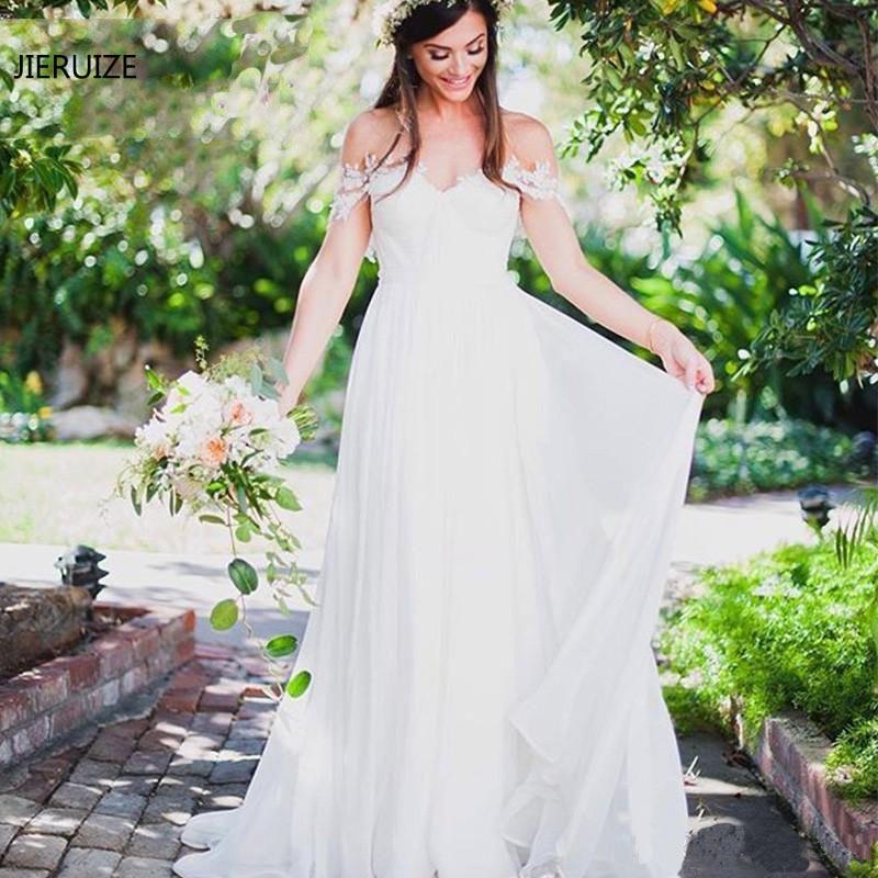 JIERUIZE blanc mousseline de soie Simple Boho robes de mariée 2019 chérie hors de l'épaule plage mariée robes robe de mariee