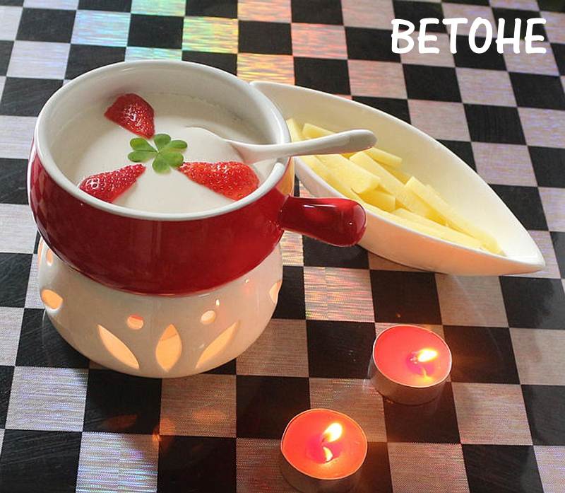 BETOHE 300ml Cheese Tool Ceramic Chocolate Boiler Hot Pot Hagendazs Ice Cream Fondue Cheese Cooker Lovely Leisure Time