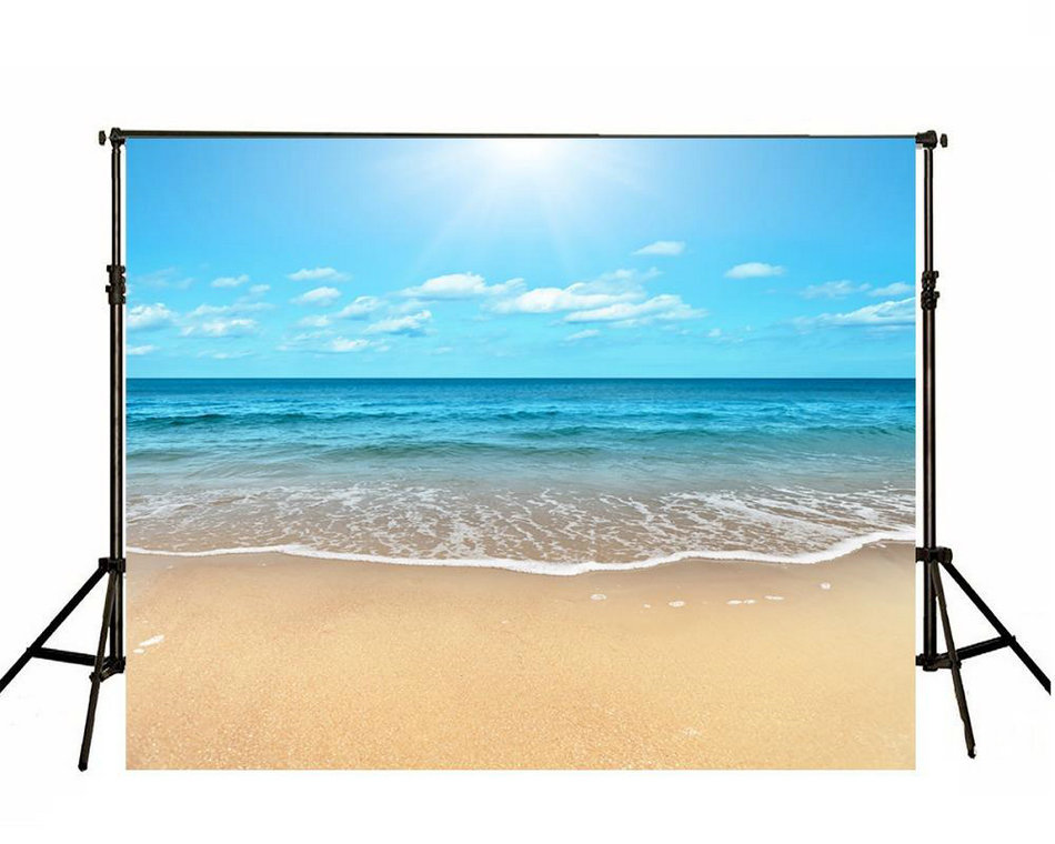 Sun Blue Sky White Cloud Sea Beach Ocean Background Vinyl cloth High quality Computer print wall backdrop