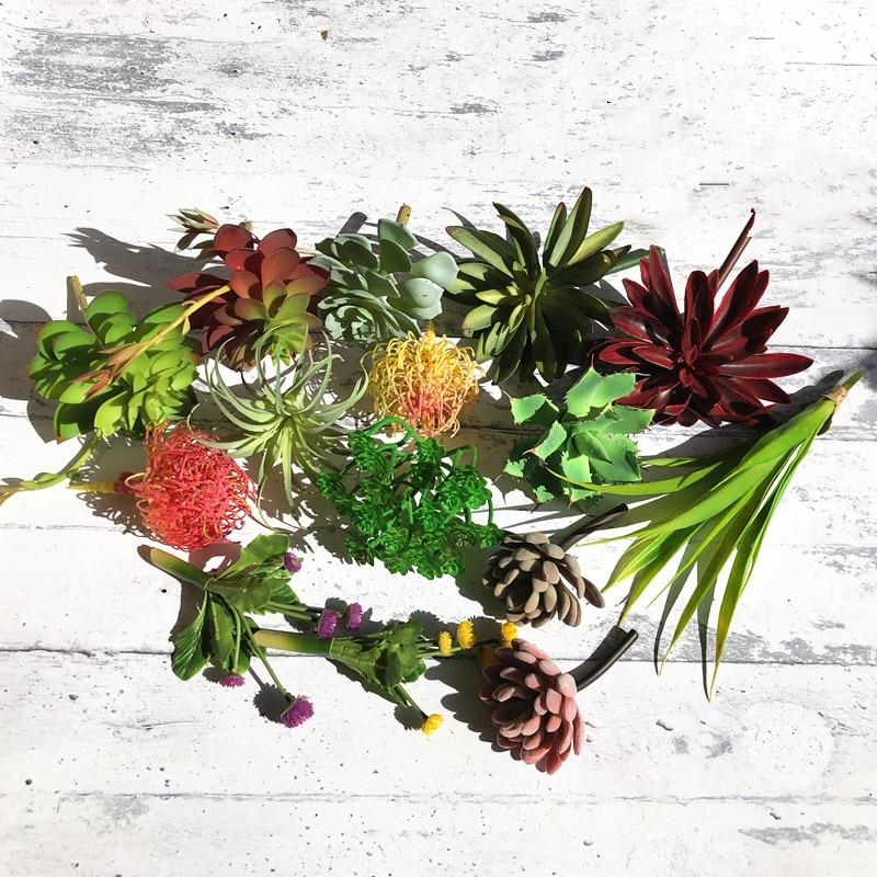 Lagere Prijs Met Indigo-mini Vetplant Kunstmatige Aloë Plastic Bloem Kantoor Tafel Decoratie Groene Plant Bruiloft Achtergrond