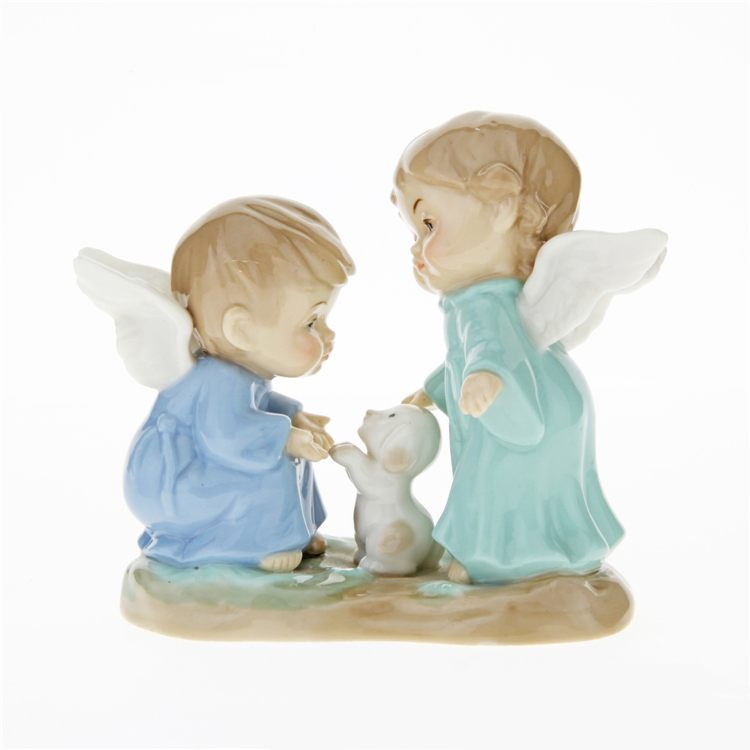 creative ceramic cute Kids boy baby dog angel statue home decor crafts room decoration handicraft figurine wedding decoration