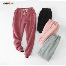 YANMUXI Loose large size winter wool thickening elastic waist pants solid color cotton harem pants ladies