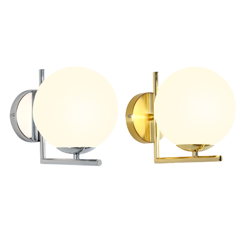 Nordic Minimalism Gold Led Bedside Wall Lamps Concise Glass Ball Study Mirror Bathroom Light Fixtures Free ShippingNordic Minimalism Gold Led Bedside Wall Lamps Concise Glass Ball Study Mirror Bathroom Light Fixtures Free Shipping