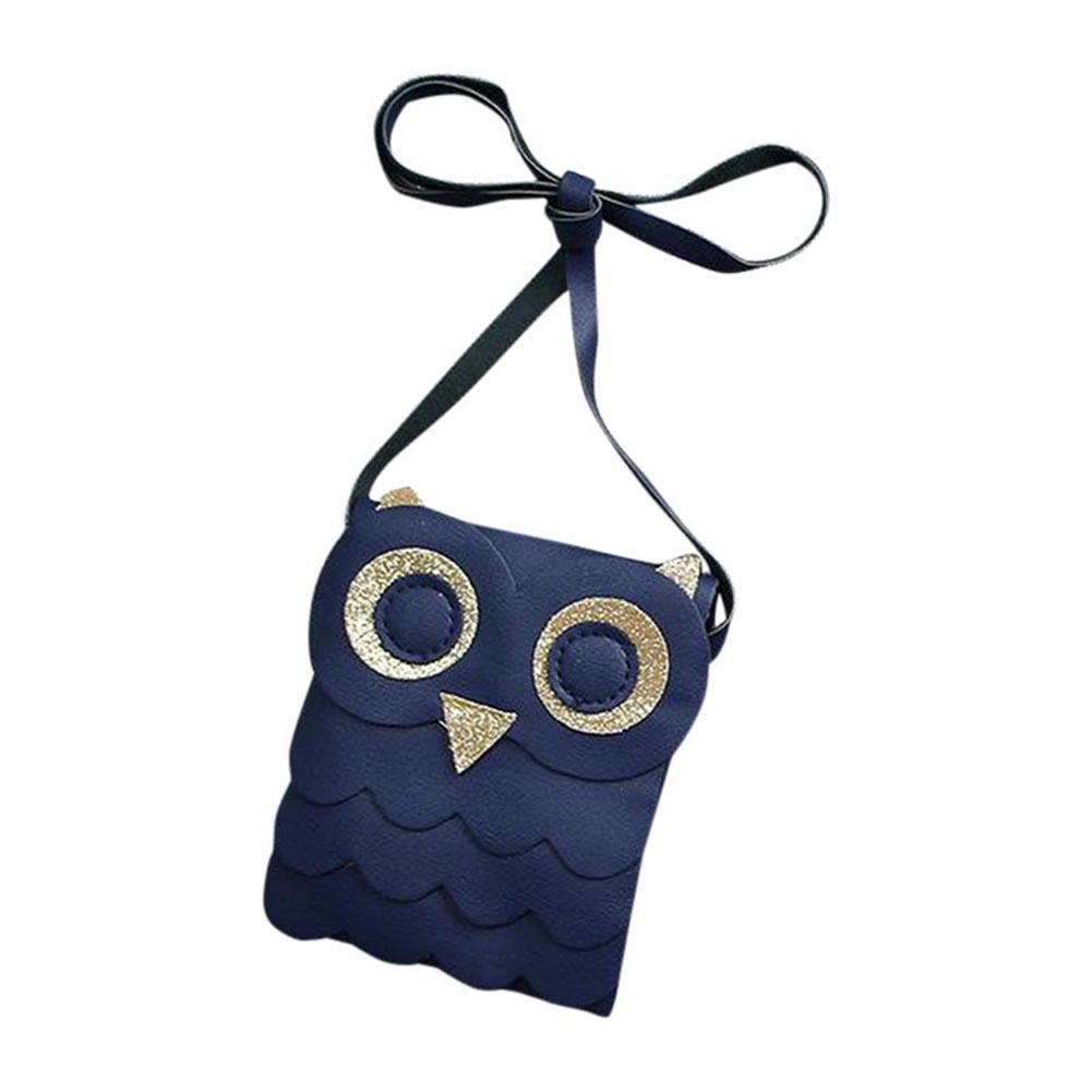 Cute Kids Gift Dark Blue Owl Cotton Bags Pouch Girls Small Coin Change Purse Wallet Childrens Wallet Money Holder LXX9