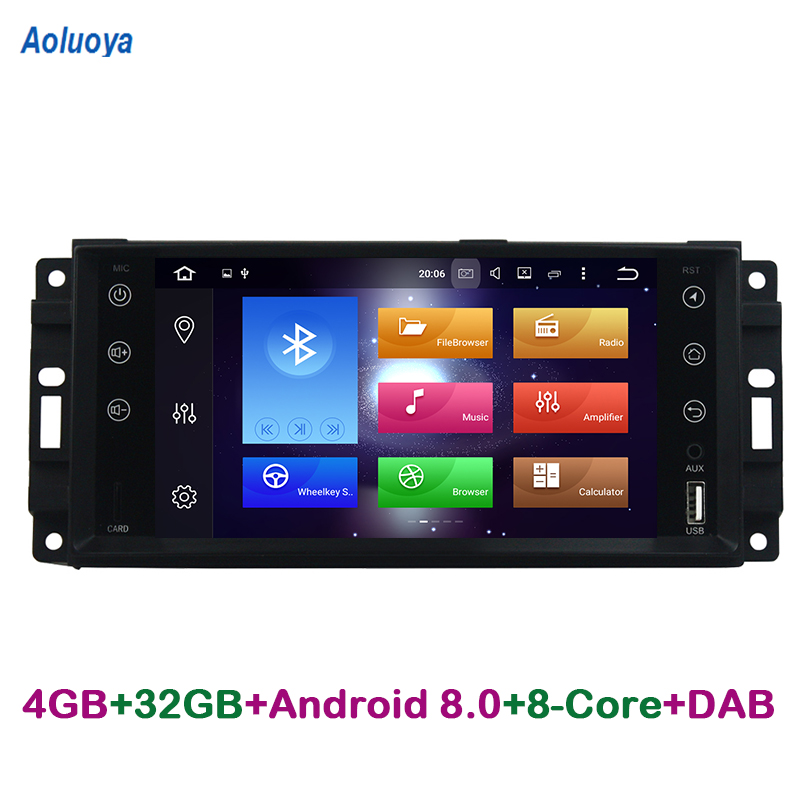 Aoluoya 4G RAM 32G ROM Восьмиядерный Android 8,0 автомобиль DVD gps кисти для Jeep Commander Compass Grand CHerokee Wrangler Chrysler 300C